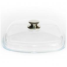 Kvadratinis stiklinis dangtis su metaline rankena 26х26 cm - Kcm 260*260