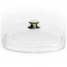 Kvadratinis stiklinis dangtis su metaline rankena 28х28 cm - Kcm 280*280
